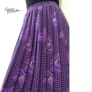 Vintage ~ Pleated Floral Print Skirt